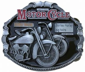 Harley Davidson Big Twins Motorcycle Belt Buckle with display stand. Code SK4